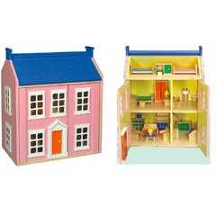 Children's Pink Wooden Dolls House Including Furniture