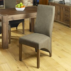 Baumhaus Full Back Upholstered Hazelnut Dining Chair Walnut Legs (Set of 2)