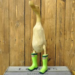 Ornamental Wooden Duck in Green Wellies
