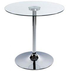 KOKOON Vinyl Round Table Clear Glass / Chrome