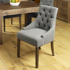 Accent Upholstered Slate Dining Chair Walnut Legs (Set of 2)