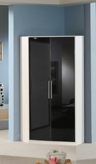 MULBERRY Black Gloss and White 2 Door Corner Wardrobe