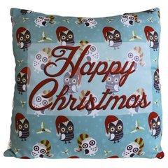 Happy Christmas Many Owls Cushion