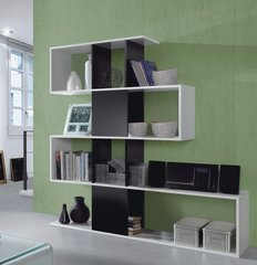 BREEZE Black and White Gloss Bookcase