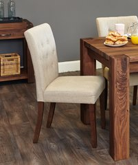 Flare back Upholstered Biscuit Dining Chair Walnut Legs (Set of 2)