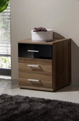 MULBERRY Black and Walnut Bedside Chest Of Drawers