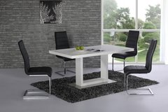 Space White High Gloss Dining Table with 4 or 6 Black Arora Chairs