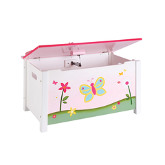 Children's Pink Butterfly Buddies Toy Box Hand-Painted