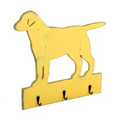 Vintage Dog Shape Yellow Hanger with 3 Hooks