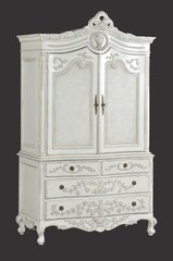 ADELE French Antique White Linen Press Wardrobe with Drawers