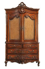 ADELE French Antique Wax Linen Press Wardrobe with Drawers