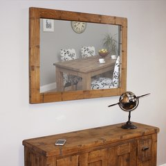Baumhaus HEYFORD Rough Sawn Oak Chunky Wall Mirror