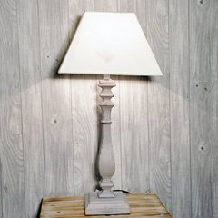 Shabby Chic Grey Table Lamp with Shade 64cm
