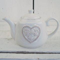 White Ceramic Floral Heart Teapot