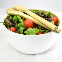 White Bamboo Salad Bowl / Fruit Bowl with Servers or Salad Hands