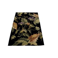 Tropical Black Flower Rug