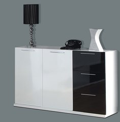 DAHLIA Black and White Gloss Sideboard