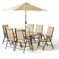 Stunning 8 Piece Santorini Garden Patio Set Table Parasol 6 Chairs Aluminium
