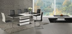 Arctic White High Gloss Extending Black Glass Dining Table with 4 or 6 Encore Chairs