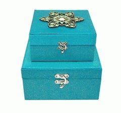 Designer Aqua Jewelled Storage Boxes Set of 2