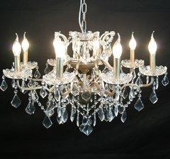 Silver 8 Branch Shallow Cut Glass Chandelier