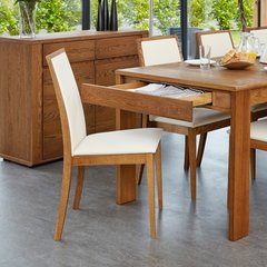 Baumhaus OLTEN - Cream Dining Chair in Oak Finish (Pack Of Two)