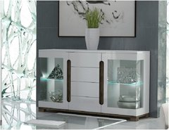 BLOSSOM White Gloss Sideboard with Glass Doors
