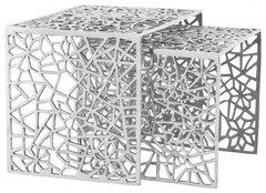 KOKOON Biko Nest of 2 Side Tables Polished Aluminium