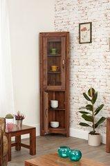 Baumhaus MAYAN WALNUT Glazed Corner Display Cabinet