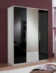 MULBERRY Black Gloss and White 3 Door 2 Drawer Wardrobe with Mirror