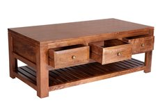 Indian Hub MANHATTAN Light Mango 6 Drawer Coffee Table