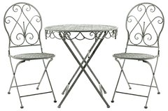 Lead Colour Round Table And 2 Chairs 74cm