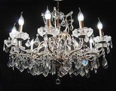 Silver 12 Branch Shallow Cut Glass Chandelier