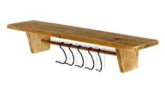 Rustic Wood Wall Shelf with Hooks 52 x 13 x 10 cm
