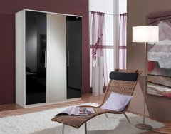 MULBERRY Black Gloss & White 3 Door Wardrobe with Mirror