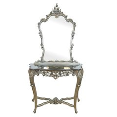 FRENCH Silver Carved Console & Mirror with Black Marble Top Dressing Table