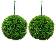 Artificial 18cm Topiary Grass Ball Set of 2 SUPER REALISTIC FOLIAGE
