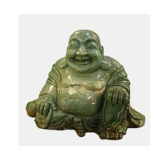 Large Chinese Carved Lushan Jade Sitting Laughing Buddha