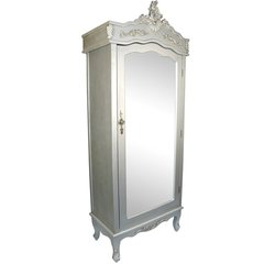 FRENCH Silver Single Door Armoire Wardrobe with Mirrored Door