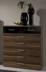 MULBERRY 2 + 5 Black and Walnut Chest Of Drawers