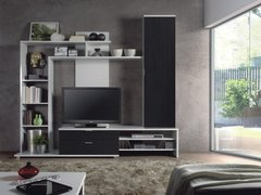 BREEZE Wenge and White or White Gloss and Black Wall TV Unit