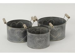 Set of 3 Metal Round Heart Planters with Handles