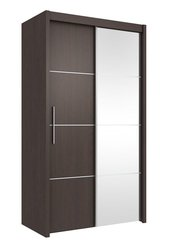 ANTHEA Sliding Mirror Door Wardrobe 121cm Wenge / Matt White / Oak