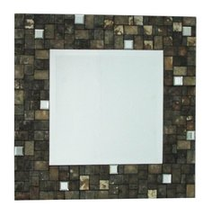 Square Black & Amber Shell Mirror