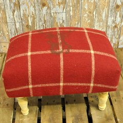 Red Stags Head Footstool