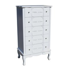 FRENCH White 5 Drawer Tallboy Chest Of Drawers