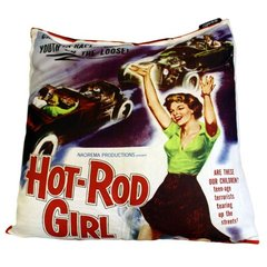 Hot Rod Girl Retro Cinema Cushion