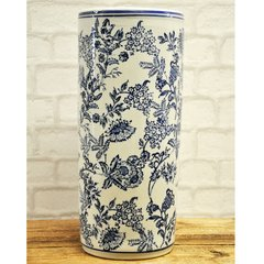 Blue & White Flowers Umbrella Stand 18""