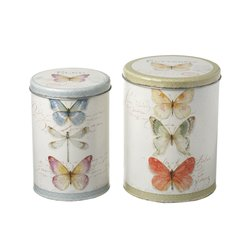 Set of 2 Butterfly Canisters
