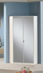 MULBERRY Mirror and White 2 Door Corner Wardrobe